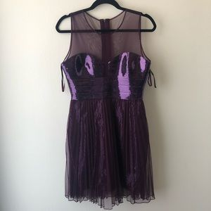 NWT BCBG plum purple Korina tulle sequin dress